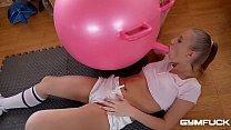 Image: Gym fuck with wet tight pussy teen Milana Blanc fucking freaky dildo ball
