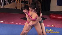 Brunette sexy wrestling puts submissive in holds tb3