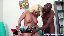 Wife creampied in interracial cuckold action Image