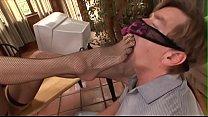 Foot fetish dude licks blonde Darryl Hanah bent-over cunt then sucks her feet and toes