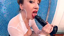 British mature Red XXX lubes up her big plump breasts