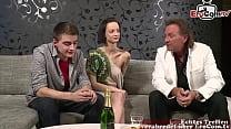 German young couple at amateur porn casting