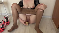 Foot fetish with a rubber dick and masturbation big hairy pussy. Skinny milf having fun at home.