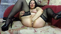 Vaginal fisting, huge sex toys, and an apple stretch mature pussy to gaping hole. Busty milf masturbates near the Christmas tree. Homemade fetish.