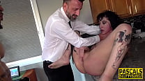 Inked sub in interracial threesome gets fucked