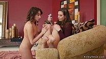 Sorority lesbians anal toying in bondage