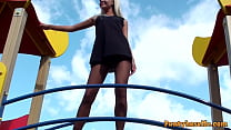 Petite Blonde At The Playground Gives Upskirt Of Pantyhose and Pussy