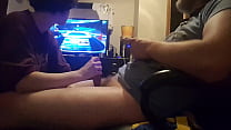 Big hard cock sucked while playing video game