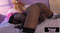 Black femboy plays with herself sensually