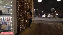 Jeny Smith naked in snow fall walking through the city thumbnail
