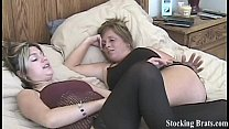 Carmen and Jessie get turned on by stockings porn thumbnail