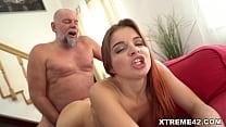 Teen looking Renata Fox blows and fucks older guy