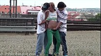 Cum on teen girl Alexis Crystal face in public sex threesome at a train station Image