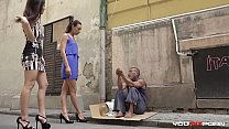 YOUMIXPORN Interactive - Skinny teen Cayenne and busty babe Darcia Lee pick a homeless man from the streets and fuck him raw
