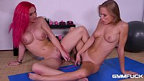Gym fuck makes flexible Aislin & Roxi Keogh orgasm after riding sex toys thumbnail