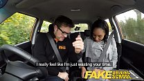 Fake Driving School nervous black teen filled up by her teacher in the car Preview