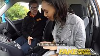fake driving school nervous black teen filled up by her teacher in the car: Videospornotube thumbnail