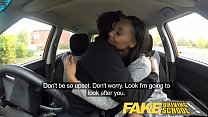 Image: Fake Driving School nervous black teen filled up by her teacher in the car