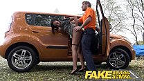 7180 Fake Driving School nervous black teen filled up by her teacher in the car preview