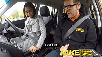 Fake Driving School nervous black teen filled up by her teacher in the car - 69VClub.Com
