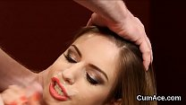 Naughty honey gets cumshot on her face sucking all the cum