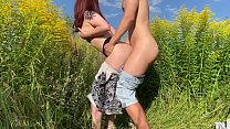 Sex with russian wife on the field with flowers...