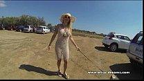 Flashing naked under my transparent dress