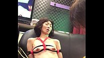 Miyuki who is tied up on the sofa at the hotel and is humiliated while playing AV