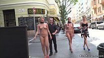 Naked slaves walked in city center