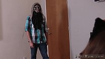 Nerd teen with glasses solo first time Spooking Your Stepally's
