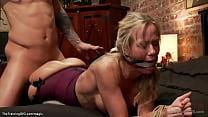 Tied blonde MILF fucked in threesome