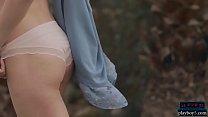 Petite body teen babe Adel Morel outdoor striptease thumbnail