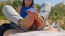 oiled footjob with blue toes in public on the woods