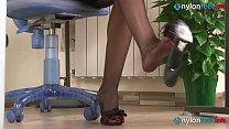 Redhead secretaries feet shoeplay in stockings and pantyhose