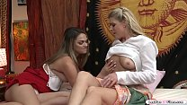 Horny youngster licked by hot busty milf