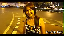 Thai girl blows her lover's one-eyed monster until getting filled with cum