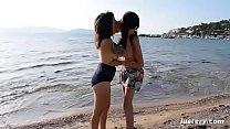Image: Erotic Homemade Amateur Lesbian Sex on the Beach