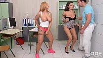 Busty Babes Sensual Jane & Kyra Hot Share Massive Dick in Hardcore Threesome, Gayboystube mobile thumbnail