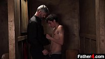 The priest sticks his cock through a slot in the Confession booth, and young boy takes the opportunity to taste his erection, and to bring the man he has so long admired pleasure