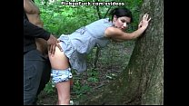 Sexy brunette fucked in the forest صورة