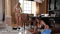 Busty brunette (Maggie Green) pussy licked by her maid Dixie Lynn - RealityKings