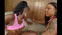 Two Ebony babes Cinnamon & Jazmyne Sky sharing cock