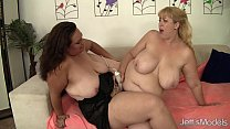 Horny lesbian plumpers Angelina and Amazon Darjeeling wanks each other