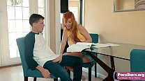Lauren Phillips and Eric are studying in the living room