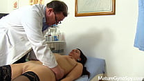 Leaked spy cam footage of naked MILF on her gyno exam