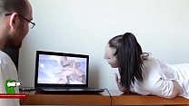 They get horny watching porn movies. SAN224