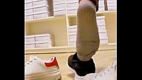 Sweaty socks, stinky socks, wet socks, dirty socks, stinky socks, shoeplay trample shoes, Trampling