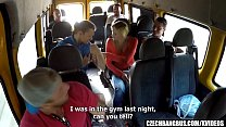 Married Busty MILF GangBanged in Bus image
