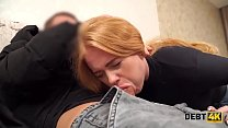 Debt4k. Babe with red hair is ready to pay the debt with her teen body