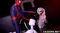 The Black Cat sucks Spideys big cock deep in her throat